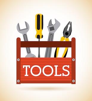 Werkzeugdesign über beige hintergrundvektorillustration