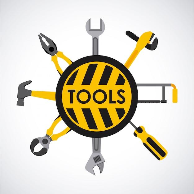 Werkzeugdesign über grauer hintergrundvektorillustration
