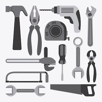 Werkzeugdesign über weißer hintergrundvektorillustration