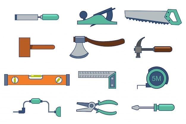 Werkzeuge für den bau und die reparatur eines hauses