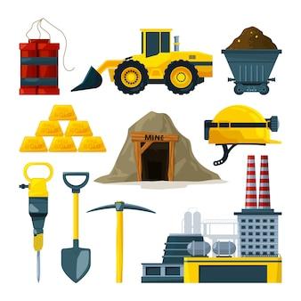 Werkzeuge für den goldbergbau und mineralien