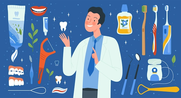 Werkzeuge für die zahnhygiene. zahnarztzubehör medizinische flüssigkeiten für mundspülbürsten, die die zahnvektorsammlung reinigen. illustration stomatologie gesundheitswesen, kieferorthopäde werkzeugset