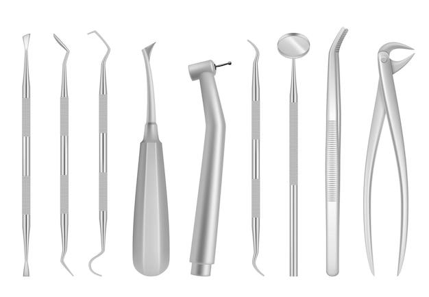Werkzeuge für zahnkliniken. Premium Vektoren