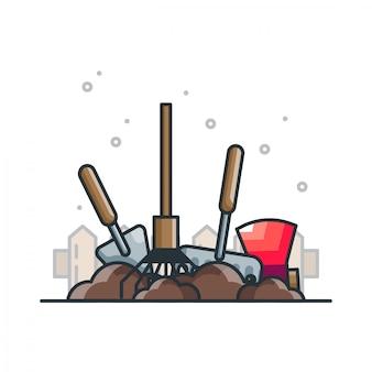 Werkzeuge garten illustration