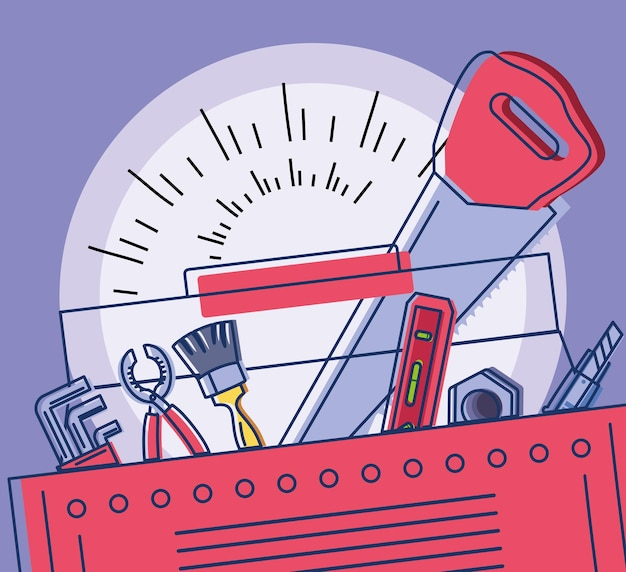 Werkzeuge im werkzeugkasten für den bau
