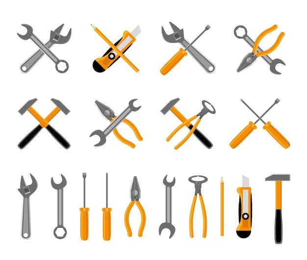 Werkzeuge symbole gesetzt. hammer und schraubenschlüssel, schraubendreher und schraubenschlüssel. vektorillustration
