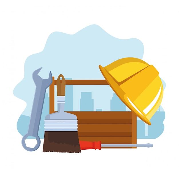 Werkzeuge und kasten mit schutzhelm reparieren