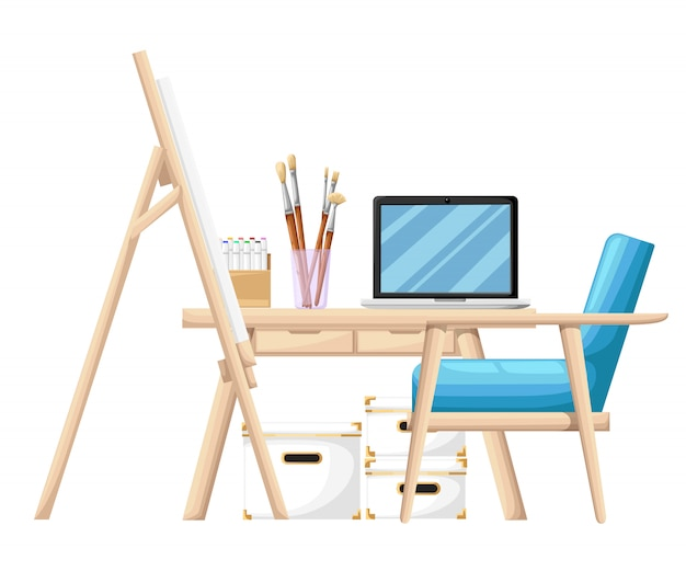 Werkzeuge und materialien im cartoon-stil zum malen von pinseln staffelei farbrohr und notizbuch auf tisch mit blauer sesselillustration auf weißer hintergrundwebseite und mobiler app