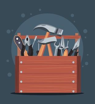 Werkzeugkasten aus holz im banner