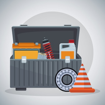 Werkzeugkasten mit bremsscheibe und verkehrskegel