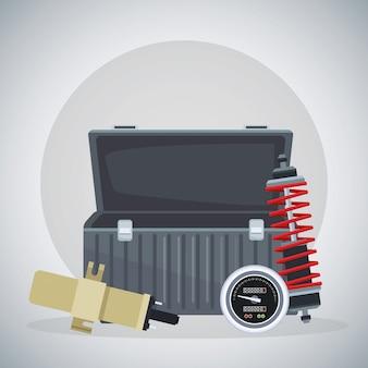 Werkzeugkasten mit stoßdämpfer und zündkerze leeren