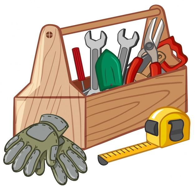 Werkzeugkasten mit vielen werkzeugen