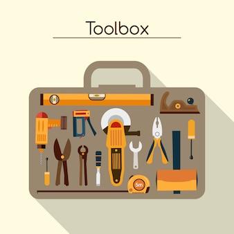 Werkzeugkasten mit werkzeugen