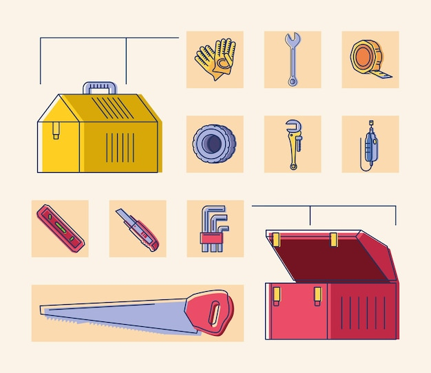 Werkzeugkoffer werkzeuge sägehandschuhe cutter