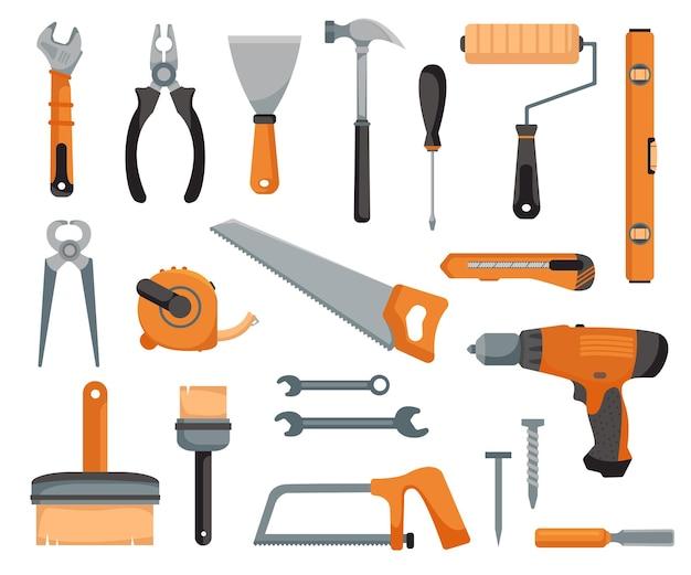 Werkzeugsatz eines schreiners und mechanikers geräte für bau und mechanik