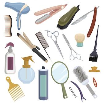 Werkzeugset für friseur. sammlung von accessoires für einen schönheitssalon.