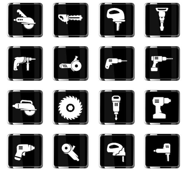Werkzeugvektorsymbole für das design der benutzeroberfläche