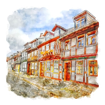 Wernigerode deutschland aquarellskizze handgezeichnete illustration