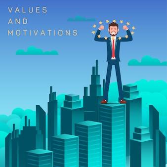 Werte und motivation flach