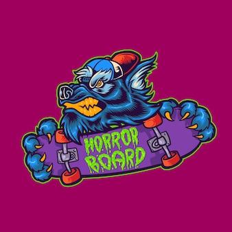 Werwolf-skateboard-halloween-maskottchen-logo-vektor