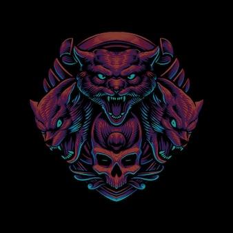 Werwolfkopf mit schädelillustration