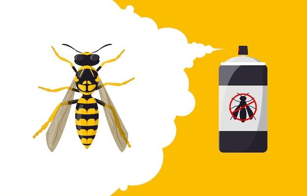Wespenschutz-aerosol insektenschutz-banner-konzept sprühflasche zur schädlingsbekämpfung und insektenbekämpfung
