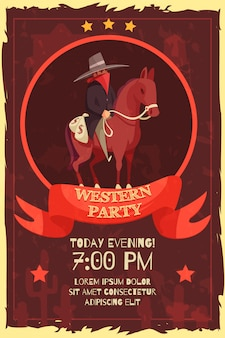 Wester party poster mit cowboy