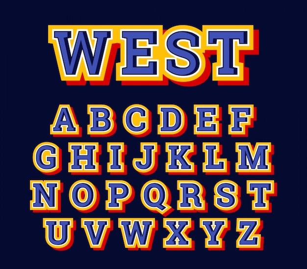 Western american letter style alphabet