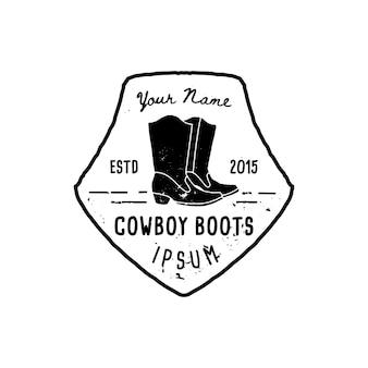 Western logo cowboystiefel hand draw grunge-stil. wild-west-symbol singen von cowboystiefeln und retro-typografie. vintage emblem für handgemachte cowboystiefel, poster, t-shirt, cover, banner