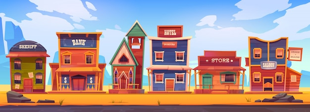 Westliche stadt mit alten holzgebäuden