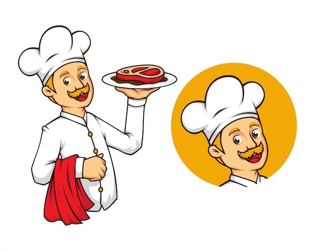 Westlicher chef mit steak-maskottchen