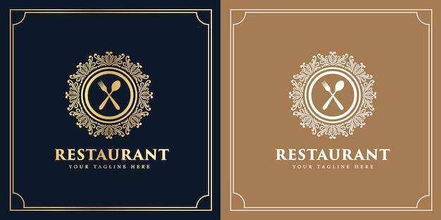 Westliches antikes logo der vintage-luxusart für hotelrestaurant und kaffeecafé