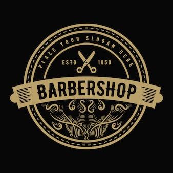 Westliches antikes logo im vintage-luxusstil für friseursalon und friseursalon im salon