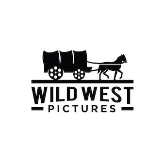 Westliches logo-design der antiken kutsche des texanischen pferdes