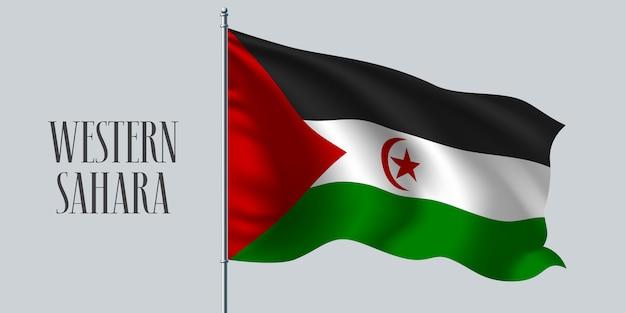 Westsahara winkende flagge auf fahnenmastillustration