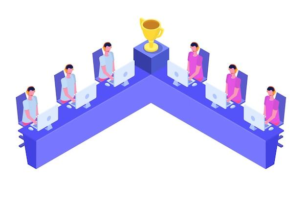 Wettbewerb isometrisches konzept für cybersport-computerspiele