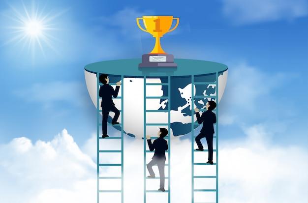 Wettbewerb mit drei geschäftsmännern klettern die leiter zum ziel auf der trophäe auf himmel. einer der leistungsstärksten sein