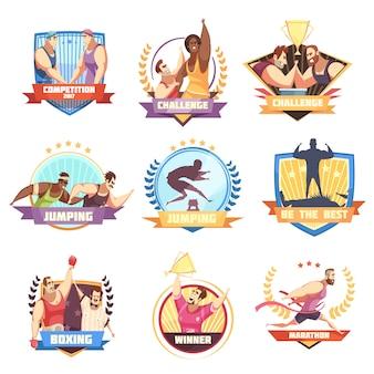 Wettbewerbsetikettensatz von neun flachen lokalisierten sportherausforderungsemblemen mit charakteren und zeichen des menschlichen athleten