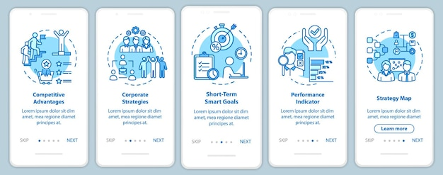 Wettbewerbsfähigkeit beim onboarding mobiler app-seitenbildschirme mit konzepten. beruf und karriere im unternehmen. optimierungs-walkthrough 5 schritte mit grafischen anweisungen. ui-vektorvorlage mit rgb-farbabbildungen