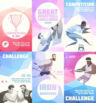 Wettbewerbsfliegersatz von sechs vertikalen plakaten mit zeichentrickfilm-sportlercharakteren