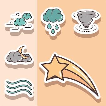 Wetter aufkleber symbole schießen sternwolke hurrikan mond nacht illustration linie und füllen
