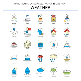 Wetter flache linie icon set