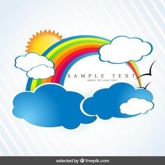 Wetter hintergrund mit bunten regenbogen