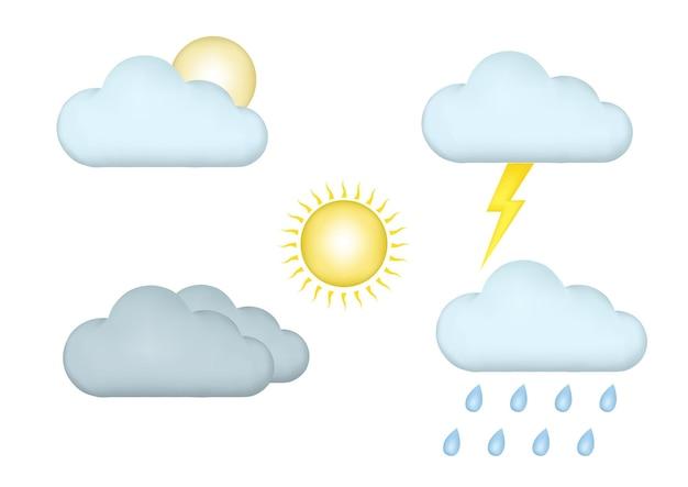 Wetter-icon-set mit 3d-stil