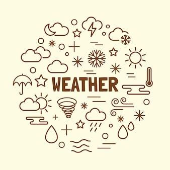 Wetter minimale dünne linie icons set