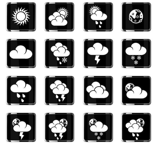 Wetter-websymbole für das design der benutzeroberfläche