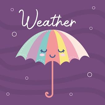 Wetterikone eines regenschirms lächelnd und wetterbeschriftung auf einem lila illustrationsentwurf