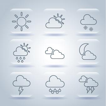 Wetterikonen über grauer hintergrundvektorillustration