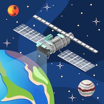 Wettersatellit mit meteorologieausrüstung im dunklen hintergrund des raumes mit erdplaneten und -sternen