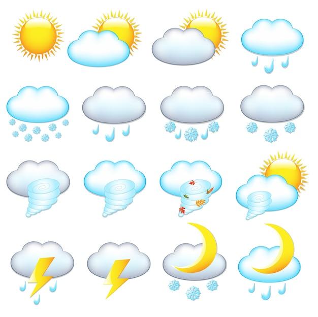 Wettersymbole, auf weißem hintergrund, illustration